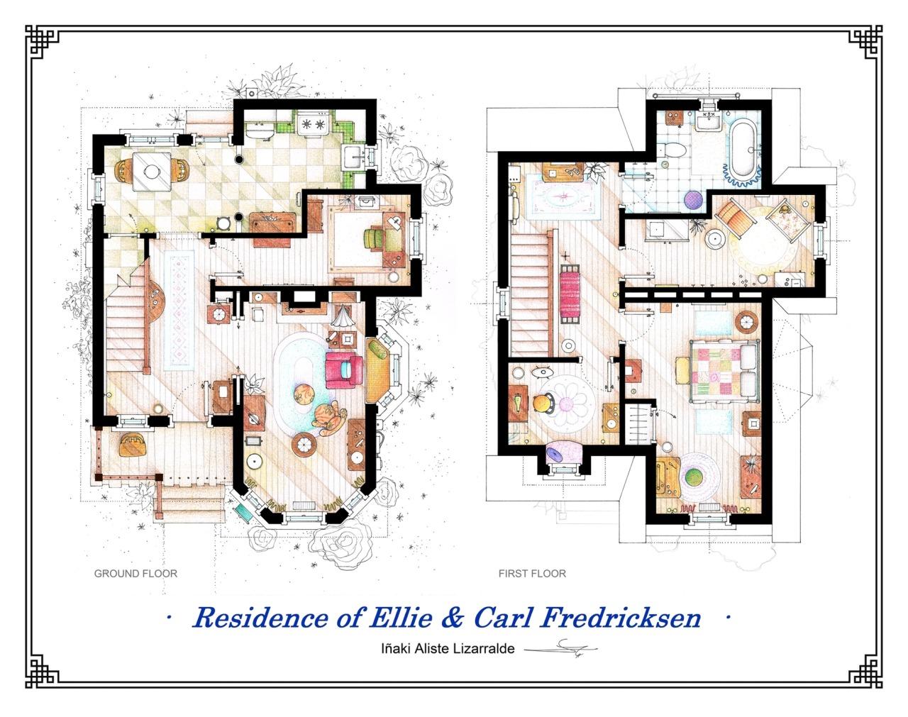 Plano de la casa de Carl Fredricksen y Elli Fredricksen de Up